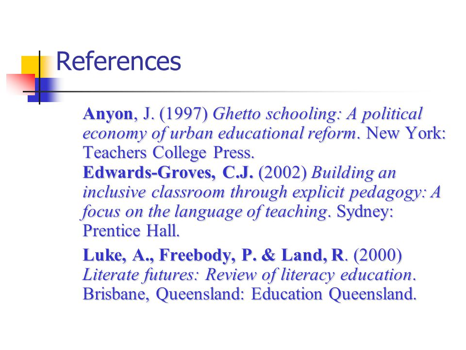 References Anyon, J. (1997) Ghetto schooling: A political economy of urban educational reform.