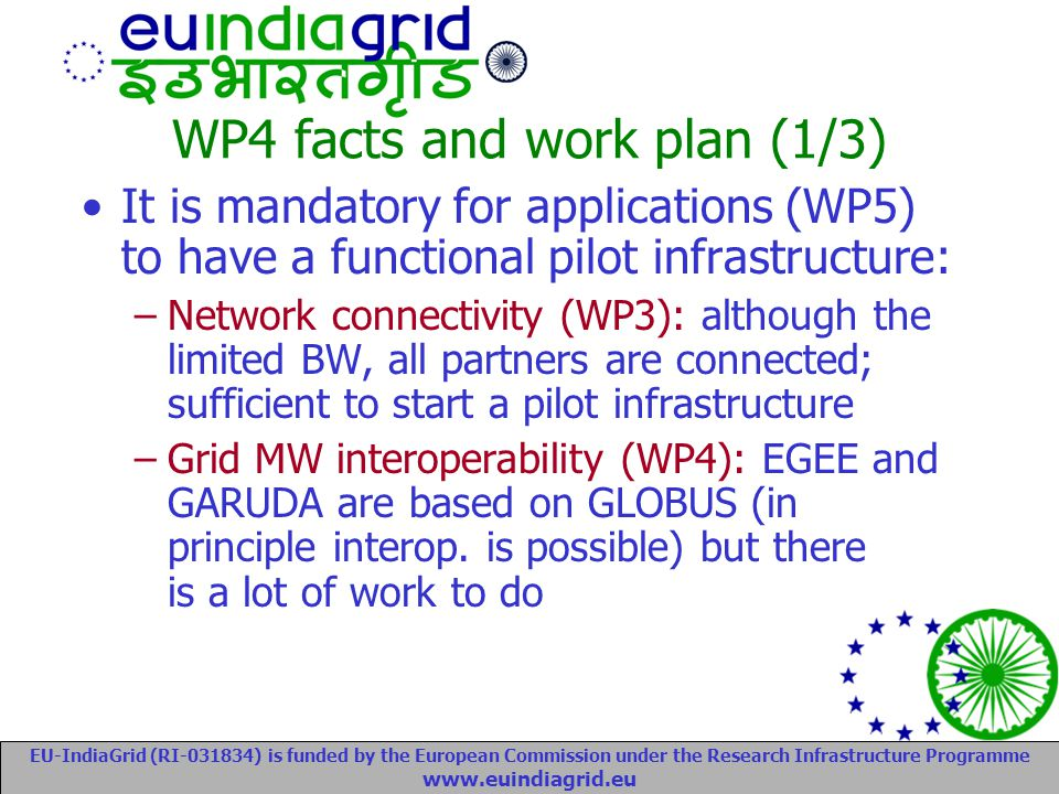 EU-IndiaGrid (RI-031834) is funded by the European Commission under the Research Infrastructure Programme www.euindiagrid.eu WP4 facts and work plan (1/3) It is mandatory for applications (WP5) to have a functional pilot infrastructure: –Network connectivity (WP3): although the limited BW, all partners are connected; sufficient to start a pilot infrastructure –Grid MW interoperability (WP4): EGEE and GARUDA are based on GLOBUS (in principle interop.