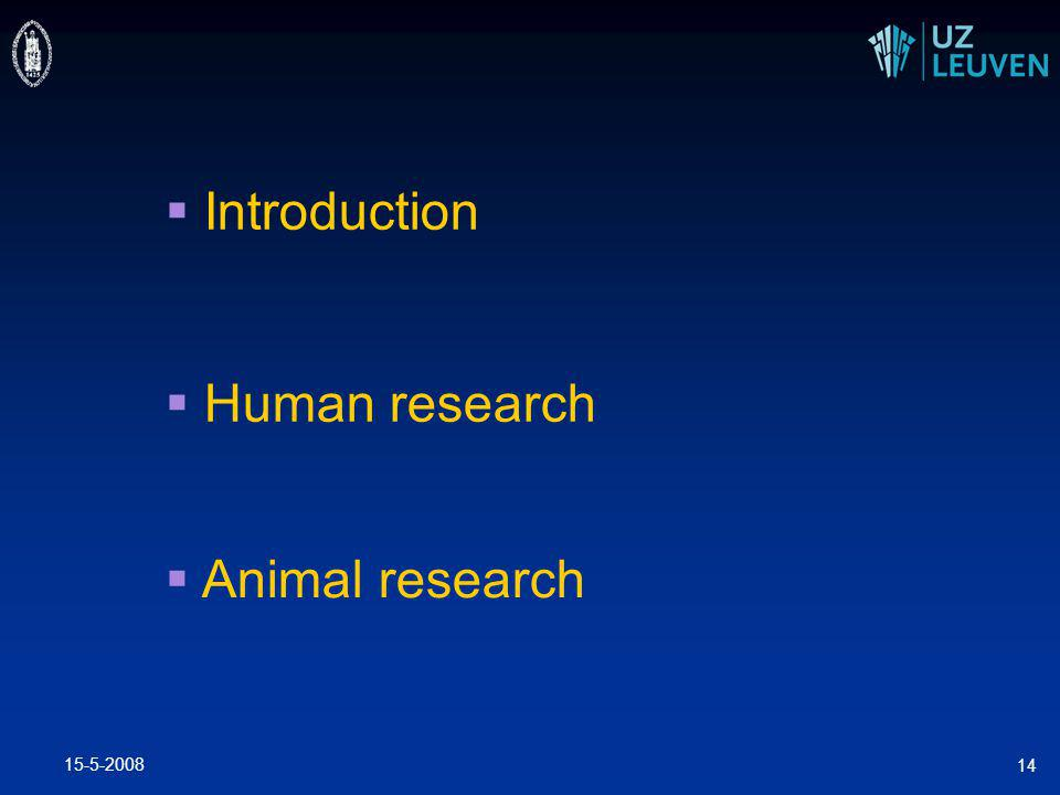 15-5-2008 14  Introduction  Human research  Animal research