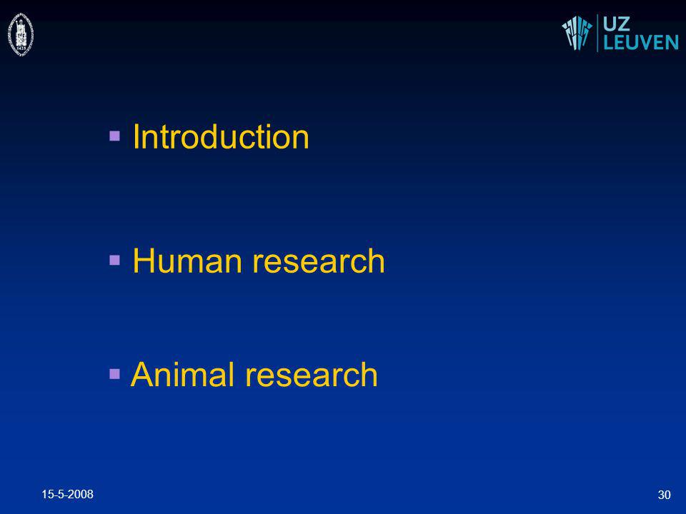 15-5-2008 30  Introduction  Human research  Animal research
