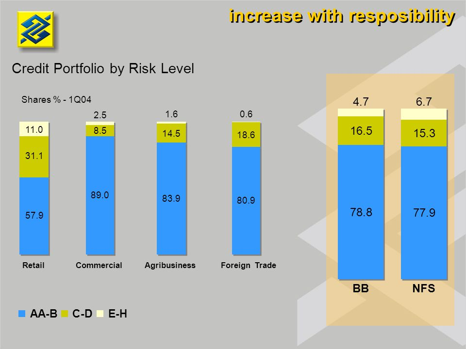Credit Portfolio by Risk Level Shares % - 1Q04 increase with resposibility AA-BC-DE-H RetailCommercialAgribusinessForeign Trade 11.0 2.5 1.60.6 4.76.7