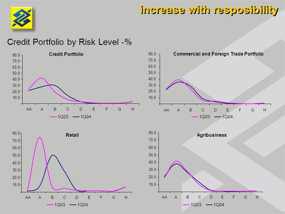 Retail Credit Portfolio Agribusiness Credit Portfolio by Risk Level -% Commercial and Foreign Trade Portfolio 10,0 20,0 30,0 40,0 50,0 60,0 70,0 80,0