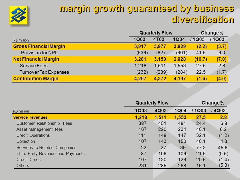margin growth guaranteed by business diversification R$ million 1Q034T031Q04/ 1Q03/ 4Q03 Gross Financial Margin3,9173,9773,829(2.2)(3.7) Provision for