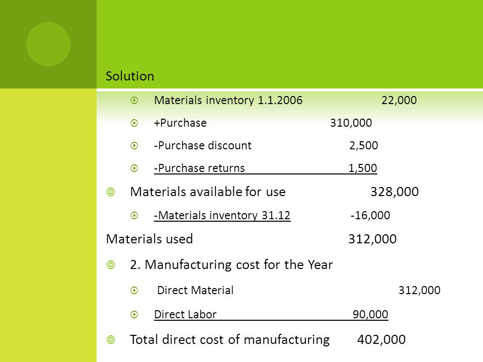 Solution  Materials inventory 1.1.2006 22,000  +Purchase 310,000  -Purchase discount 2,500  -Purchase returns 1,500  Materials available for use 328,000  -Materials inventory 31.12 -16,000 Materials used 312,000  2.