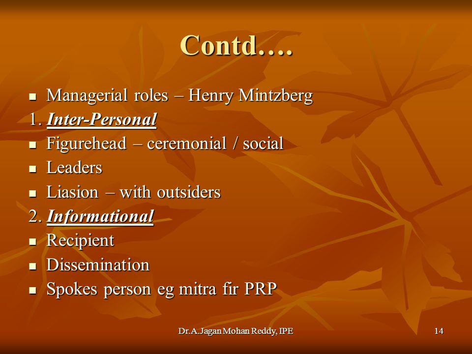 Dr.A.Jagan Mohan Reddy, IPE14 Contd….