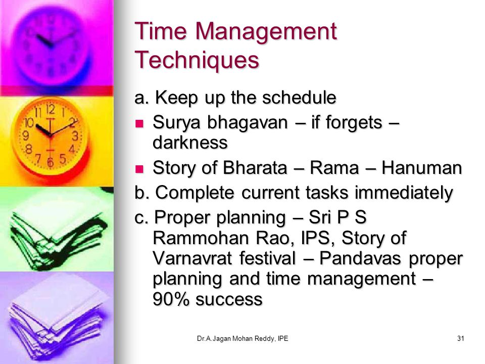 Dr.A.Jagan Mohan Reddy, IPE31 Time Management Techniques a.