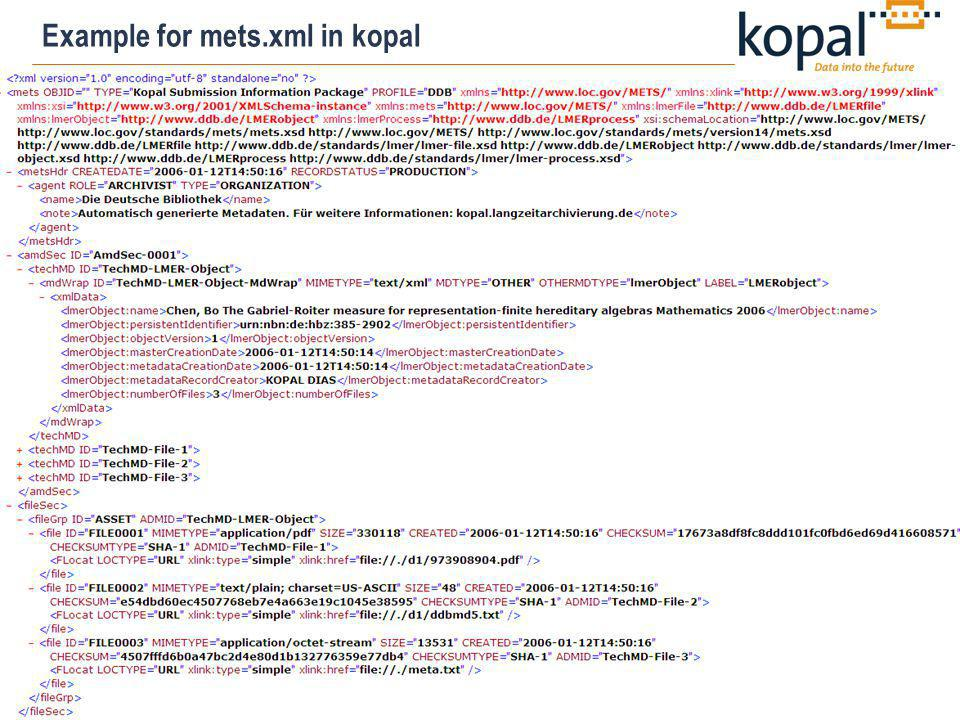 13 Example for mets.xml in kopal
