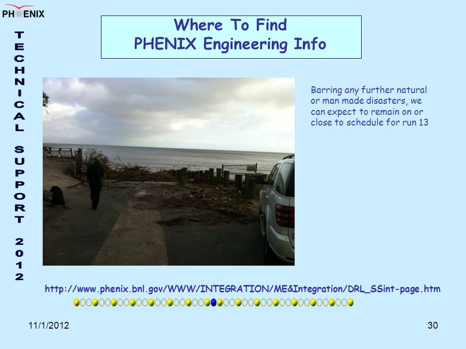 11/1/201230 Where To Find PHENIX Engineering Info http://www.phenix.bnl.gov/WWW/INTEGRATION/ME&Integration/DRL_SSint-page.htm Barring any further natural or man made disasters, we can expect to remain on or close to schedule for run 13
