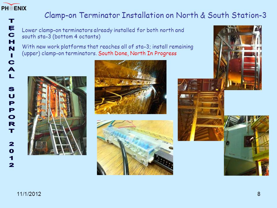 11/1/20128 Clamp-on Terminator Installation on North & South Station-3 Lower clamp-on terminators already installed for both north and south sta-3 (bottom 4 octants) With new work platforms that reaches all of sta-3; install remaining (upper) clamp-on terminators.