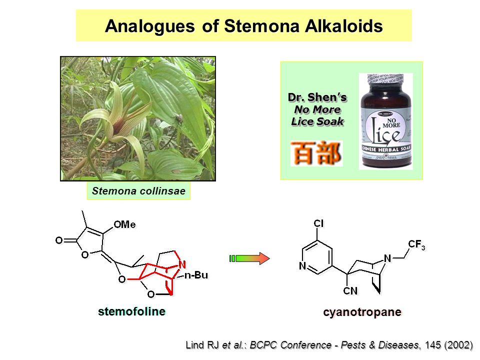 Analogues of Stemona Alkaloids stemofoline cyanotropane Lind RJ et al.: BCPC Conference - Pests & Diseases, 145 (2002) Dr.