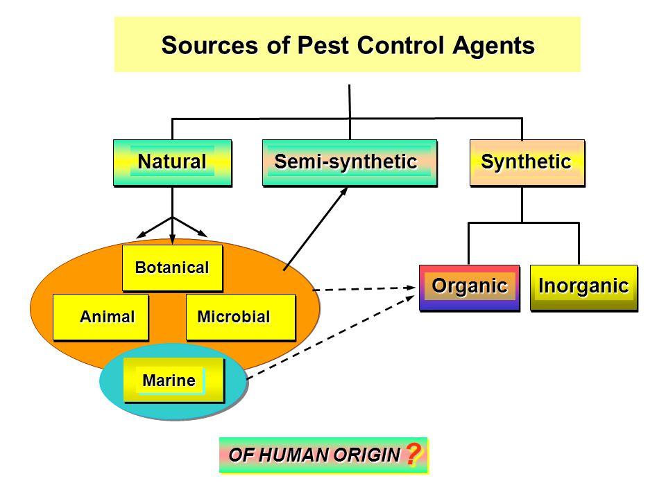 Sources of Pest Control Agents Semi-syntheticSynthetic Inorganic Natural Organic Botanical MicrobialAnimal MarineMarine OF HUMAN ORIGIN