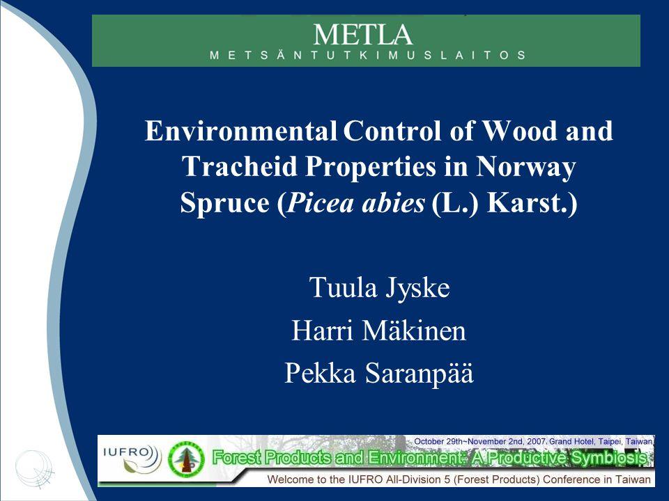 Pekka Saranpää 28/10/07 Basal area of study trees (cm 2 ) Fertilised control fertilised 1 fertilised 2 delayed normal high thinningintensity Thinned