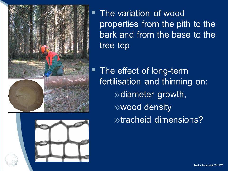 Pekka Saranpää 28/10/07  only slight differences in tracheid length ( 1 % – 2 %)  cell wall thickness decreased 1 % – 7 %  minor effect on lumen diameter (0 % – 2 %)