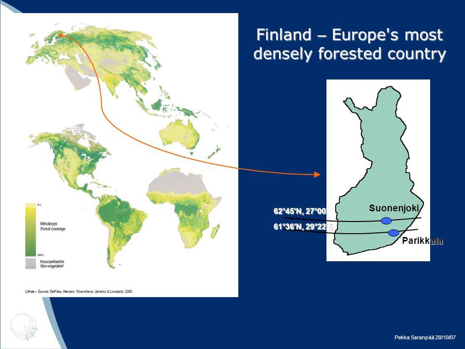 Pekka Saranpää 28/10/07 Finland – Europe s most densely forested country Suonenjoki Parikkala 62°45 N, 27°00 E Suonenjoki Parikkala Suonenjoki Parikkala 61°36 N, 29°22 E