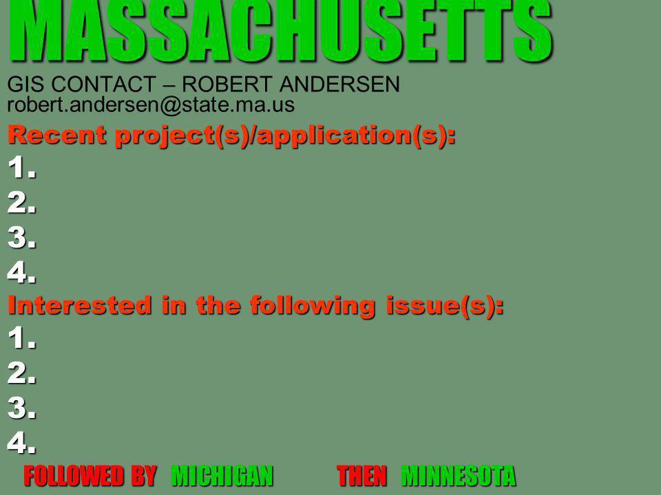 MASSACHUSETTS MASSACHUSETTS GIS CONTACT – ROBERT ANDERSEN robert.andersen@state.ma.us Recent project(s)/application(s): 1.2.3.4. Interested in the fol
