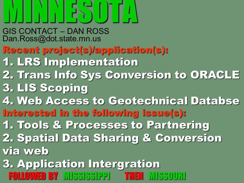 MINNESOTA MINNESOTA GIS CONTACT – DAN ROSS Dan.Ross@dot.state.mn.us Recent project(s)/application(s): 1. LRS Implementation 2. Trans Info Sys Conversi