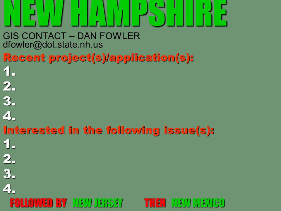NEW HAMPSHIRE NEW HAMPSHIRE GIS CONTACT – DAN FOWLER dfowler@dot.state.nh.us Recent project(s)/application(s): 1.2.3.4.