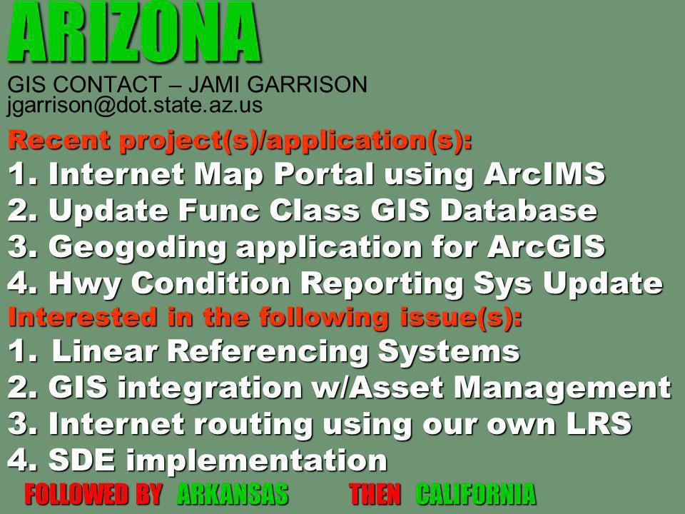 ARIZONA ARIZONA GIS CONTACT – JAMI GARRISON jgarrison@dot.state.az.us Recent project(s)/application(s): 1. Internet Map Portal using ArcIMS 2. Update