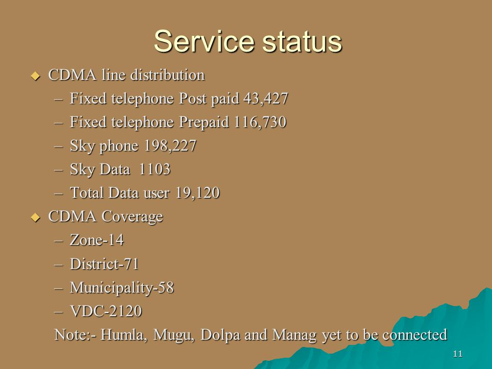 11 Service status  CDMA line distribution –Fixed telephone Post paid 43,427 –Fixed telephone Prepaid 116,730 –Sky phone 198,227 –Sky Data 1103 –Total Data user 19,120  CDMA Coverage –Zone-14 –District-71 –Municipality-58 –VDC-2120 Note:- Humla, Mugu, Dolpa and Manag yet to be connected