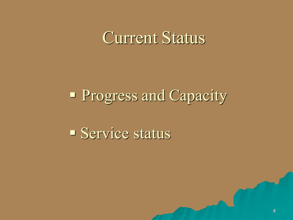 4 Current Status  Progress and Capacity  Service status
