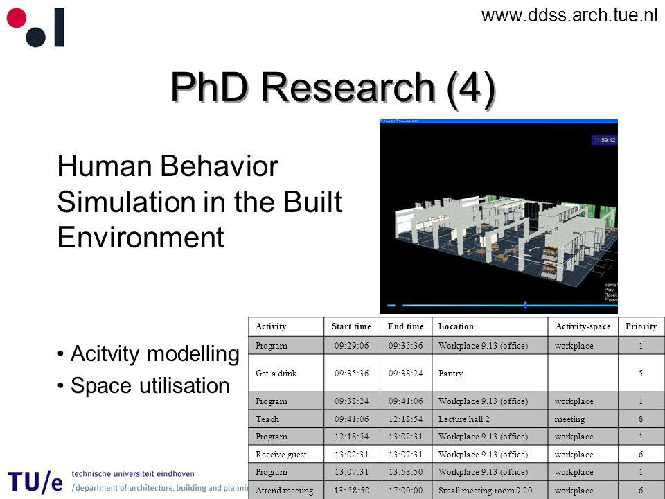 www.ddss.arch.tue.nl PhD Research (4) Human Behavior Simulation in the Built Environment Acitvity modelling Space utilisation ActivityStart timeEnd timeLocationActivity-spacePriority Program09:29:0609:35:36Workplace 9.13 (office)workplace1 Get a drink09:35:3609:38:24Pantry5 Program09:38:2409:41:06Workplace 9.13 (office)workplace1 Teach09:41:0612:18:54Lecture hall 2meeting8 Program12:18:5413:02:31Workplace 9.13 (office)workplace1 Receive guest13:02:3113:07:31Workplace 9.13 (office)workplace6 Program13:07:3113:58:50Workplace 9.13 (office)workplace1 Attend meeting13: 58:5017:00:00Small meeting room 9.20workplace6