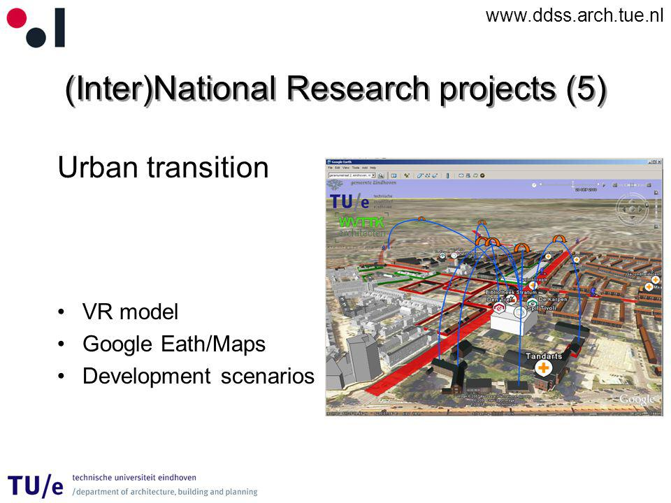 www.ddss.arch.tue.nl (Inter)National Research projects (5) Urban transition VR model Google Eath/Maps Development scenarios