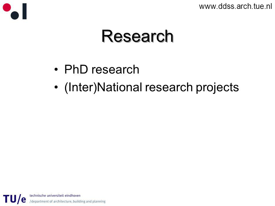 www.ddss.arch.tue.nl Research PhD research (Inter)National research projects