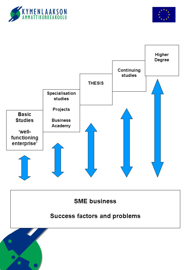 SME business Success factors and problems Basic Studies 'well- functioning enterprise' Specialisation studies Projects Business Academy THESIS Continuing studies Higher Degree