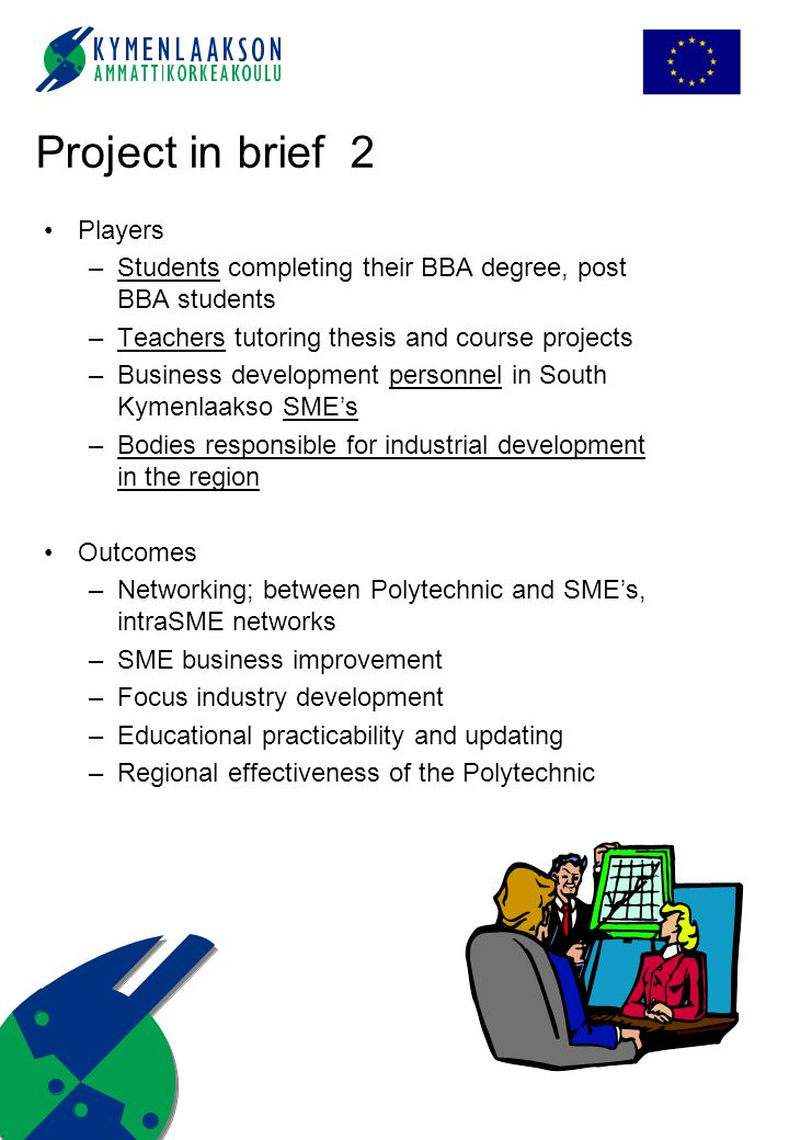 Players –Students completing their BBA degree, post BBA students –Teachers tutoring thesis and course projects –Business development personnel in Sout