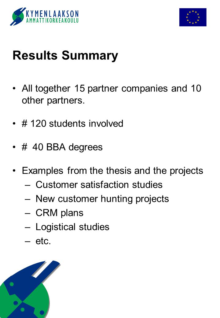 Results Summary All together 15 partner companies and 10 other partners. # 120 students involved # 40 BBA degrees Examples from the thesis and the pro