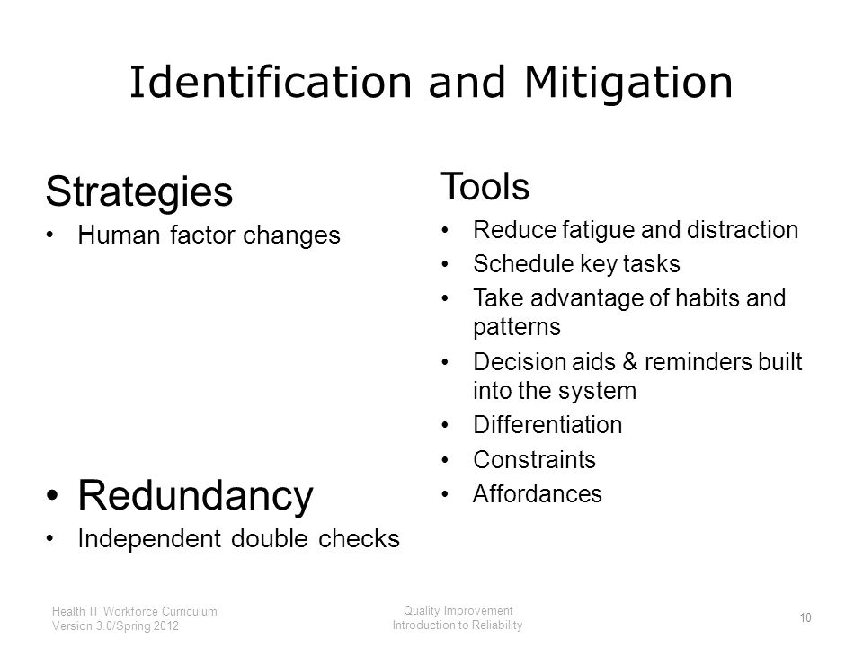 Identification and Mitigation Strategies Human factor changes Redundancy Independent double checks Tools Reduce fatigue and distraction Schedule key tasks Take advantage of habits and patterns Decision aids & reminders built into the system Differentiation Constraints Affordances 10 Health IT Workforce Curriculum Version 3.0/Spring 2012 Quality Improvement Introduction to Reliability
