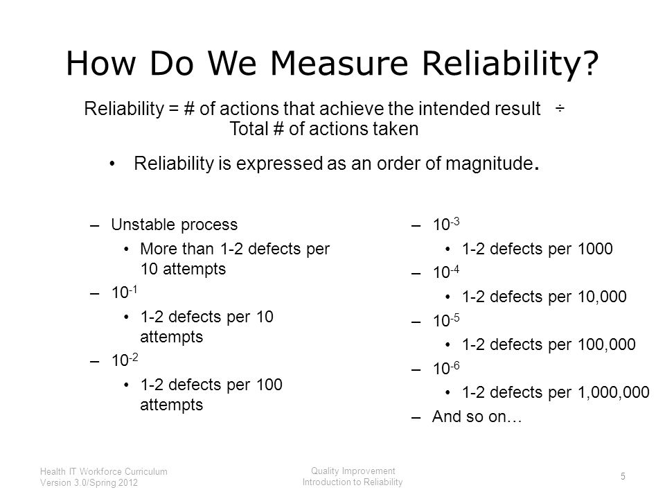 How Do We Measure Reliability.