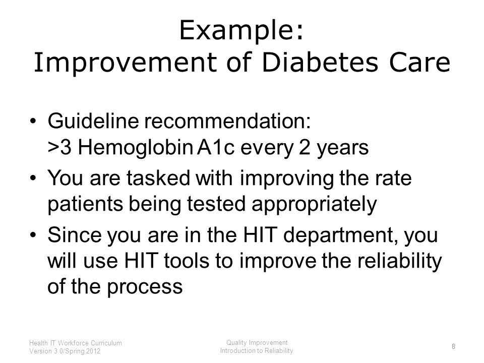 Example: Improvement of Diabetes Care Guideline recommendation: >3 Hemoglobin A1c every 2 years You are tasked with improving the rate patients being tested appropriately Since you are in the HIT department, you will use HIT tools to improve the reliability of the process 8 Health IT Workforce Curriculum Version 3.0/Spring 2012 Quality Improvement Introduction to Reliability