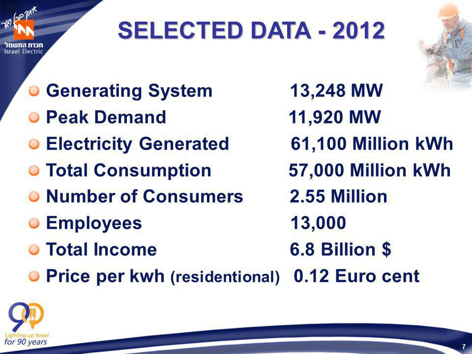 7 SELECTED DATA - 2012 SELECTED DATA - 2012 Generating System 13,248 MW Peak Demand 11,920 MW Electricity Generated 61,100 Million kWh Total Consumption 57,000 Million kWh Number of Consumers 2.55 Million Employees 13,000 Total Income 6.8 Billion $ Price per kwh (residentional) 0.12 Euro cent