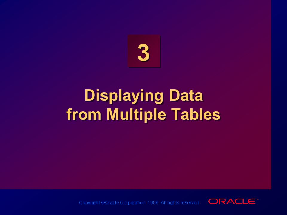 Copyright  Oracle Corporation, 1998. All rights reserved. 3 Displaying Data from Multiple Tables