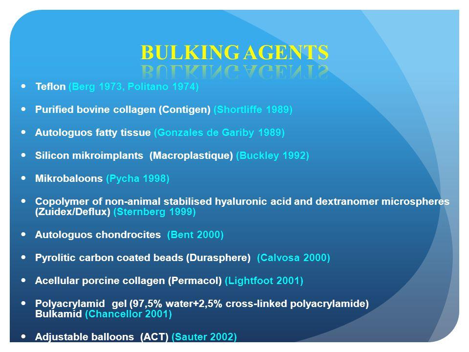 Teflon (Berg 1973, Politano 1974) Purified bovine collagen (Contigen) (Shortliffe 1989) Autologuos fatty tissue (Gonzales de Gariby 1989) Silicon mikr
