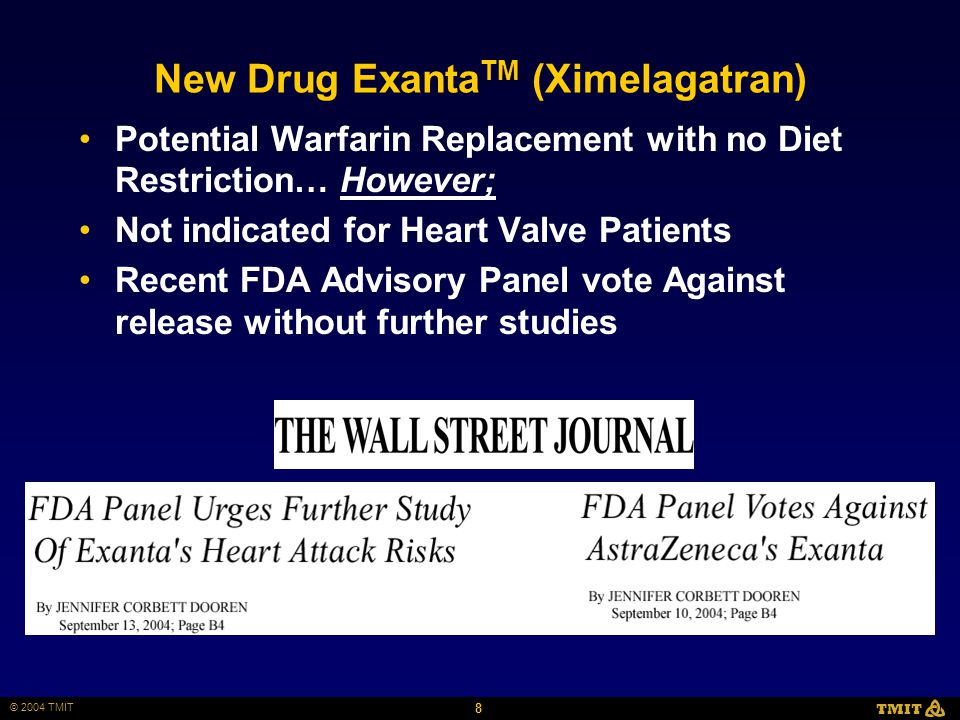 8 © 2004 TMIT TMIT New Drug Exanta TM (Ximelagatran) Potential Warfarin Replacement with no Diet Restriction… However; Not indicated for Heart Valve Patients Recent FDA Advisory Panel vote Against release without further studies