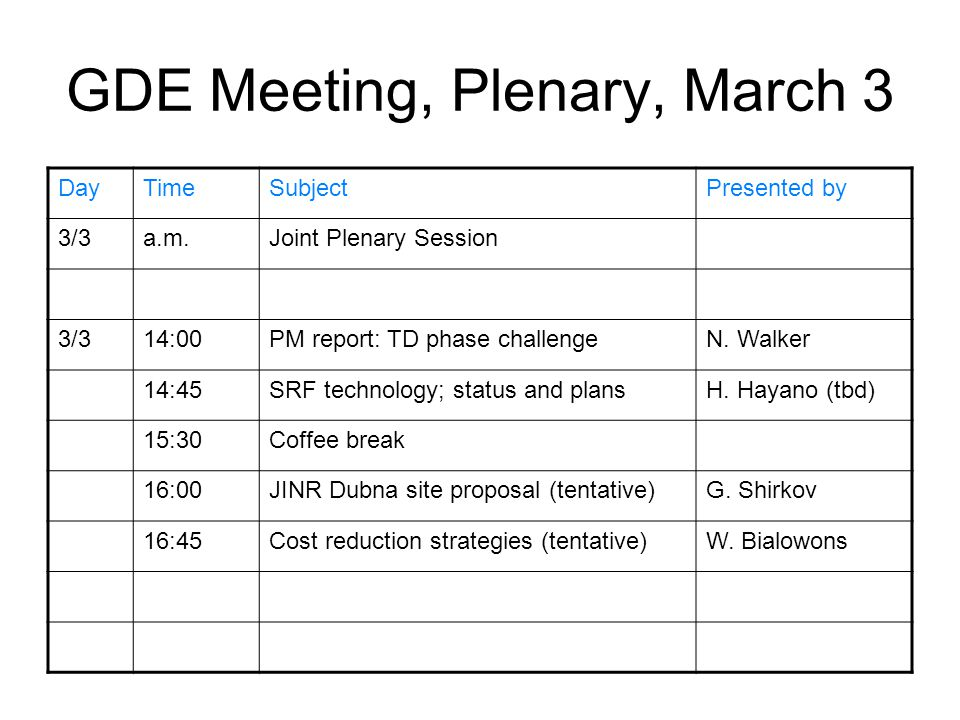 GDE Meeting, Plenary, March 3 DayTimeSubjectPresented by 3/3a.m.Joint Plenary Session 3/314:00PM report: TD phase challengeN.