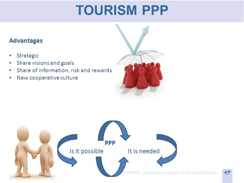 TOURISM PPP Advantages Strategic Share visions and goals Share of information, risk and rewards New cooperative culture PPP Is it possible It is needed
