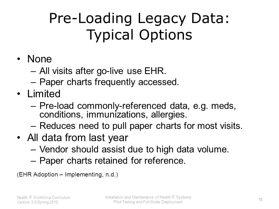 Pre-Loading Legacy Data: Typical Options None –All visits after go-live use EHR. –Paper charts frequently accessed. Limited –Pre-load commonly-referen