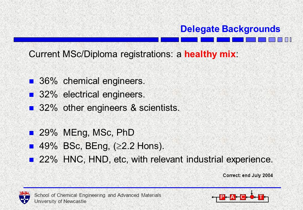 School of Chemical Engineering and Advanced Materials University of Newcastle P A C T Nature of the Modules n Modules are generic, concentrating on principles and technology.