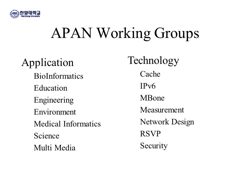 APAN Working Groups Application BioInformatics Education Engineering Environment Medical Informatics Science Multi Media Technology Cache IPv6 MBone M