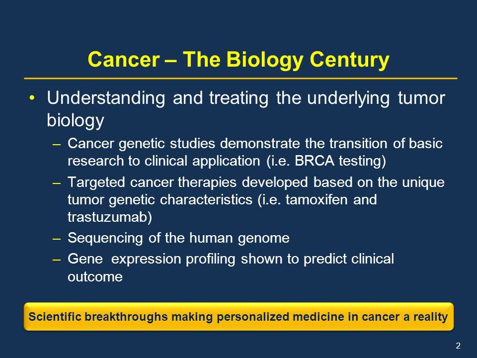 Cancer – The Biology Century Understanding and treating the underlying tumor biology –Cancer genetic studies demonstrate the transition of basic resea