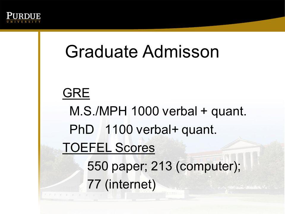 Graduate Admisson GRE M.S./MPH 1000 verbal + quant.