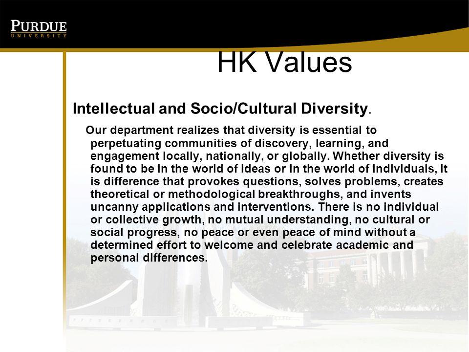 HK Values Intellectual and Socio/Cultural Diversity.