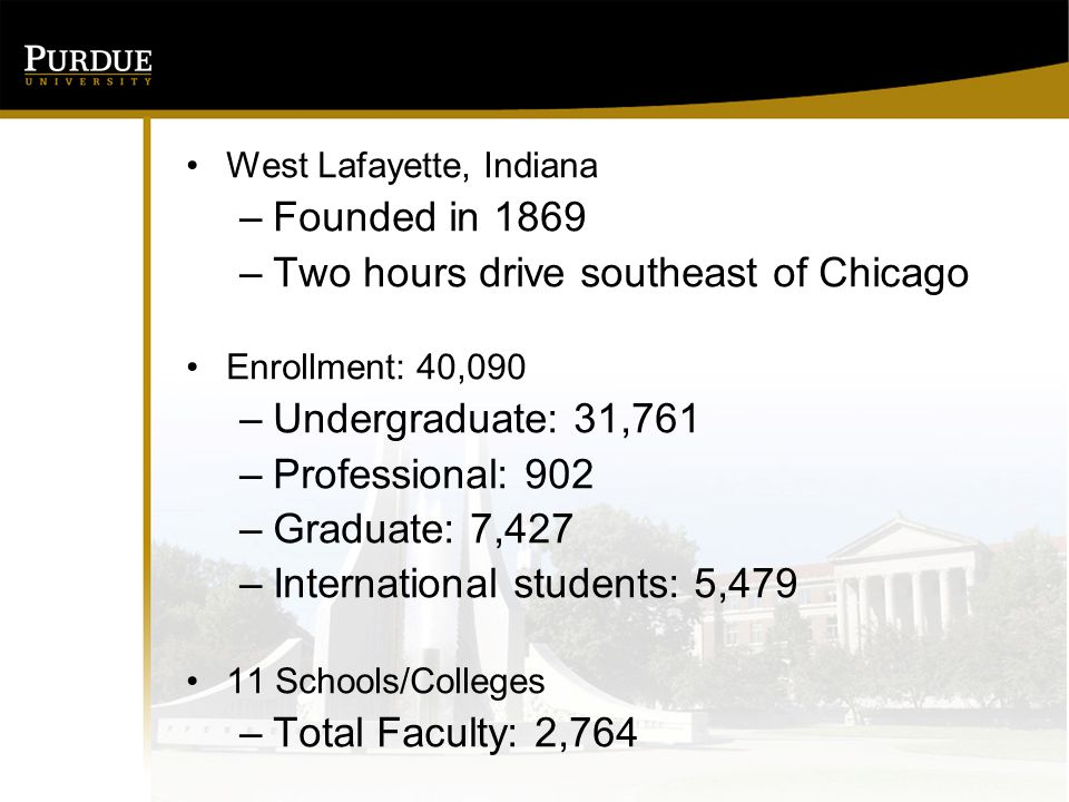 West Lafayette, Indiana –Founded in 1869 –Two hours drive southeast of Chicago Enrollment: 40,090 –Undergraduate: 31,761 –Professional: 902 –Graduate: