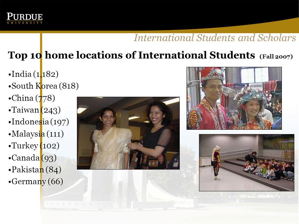 International Students and Scholars Top 10 home locations of International Students (Fall 2007) India (1,182) South Korea (818) China (778) Taiwan (243) Indonesia (197) Malaysia (111) Turkey (102) Canada (93) Pakistan (84) Germany (66)