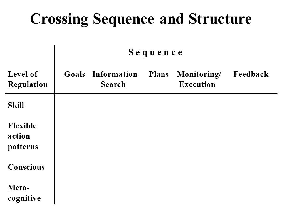 Crossing Sequence and Structure S e q u e n c e Level ofGoalsInformationPlansMonitoring/Feedback Regulation Search Execution Skill Flexible action pat