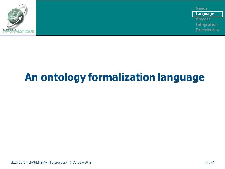An ontology formalization language Needs Language Process Integration Experiences MEDI 2012 - LIAS/ENSMA - Futuroscope - 5 Octobre 2012 14 / 49