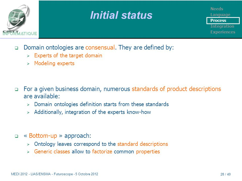 Initial status  Domain ontologies are consensual. They are defined by:  Experts of the target domain  Modeling experts  For a given business domai